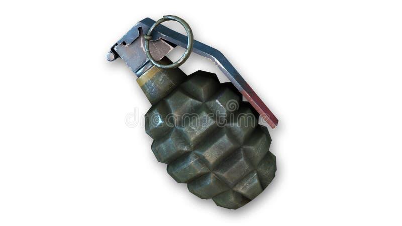 Handgranate, frag Granate auf Weiß lizenzfreie abbildung