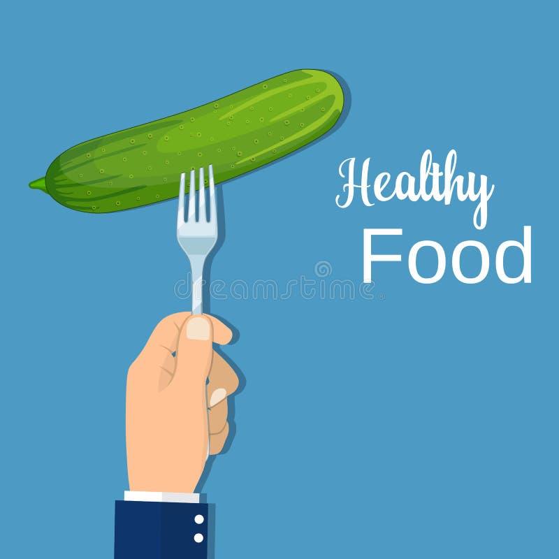 Handgreep een komkommer op een vork, vector illustratie