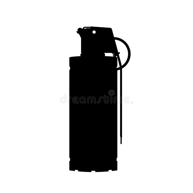 Handgrelle Granate von besonderen Kräften Schwarzes Schattenbild der Anti-Terroristmunition Polizeisprengstoff Waffenikone stock abbildung
