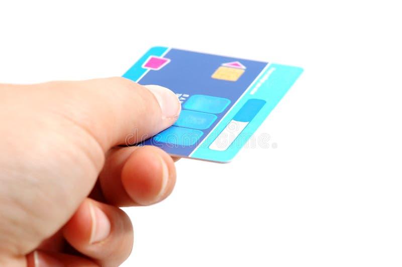 Handgriff eine Kreditkarte stockfoto