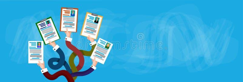 Handgruppen-Griff Lebenslauf-Profil-Kandidat Job Position stock abbildung