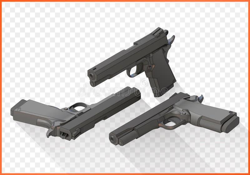 Handgun pistols flat vector isometric stock illustration