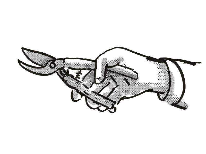 Handhållare som håller Secateurs Garden Tool Cartoon Retro Drawing vektor illustrationer