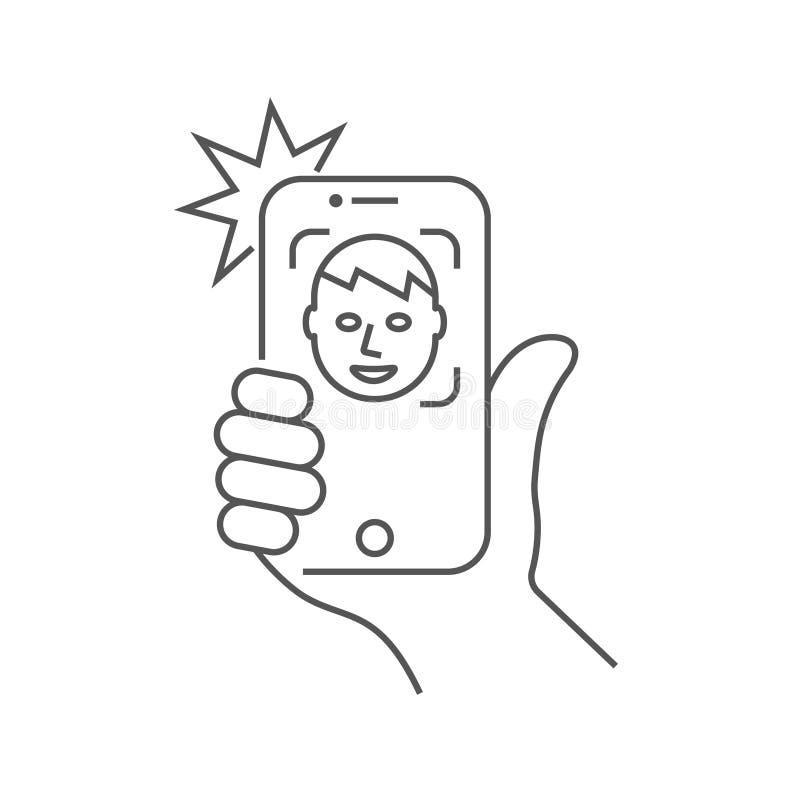 Handhållen smartphonen och göraselfien Foto p? smartphonen Redigerbar slagl?ngd 10 eps vektor illustrationer