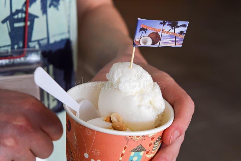 Handhållkokosnöten mjölkar icecream Läcker kokosnötglass i Thailand royaltyfria foton