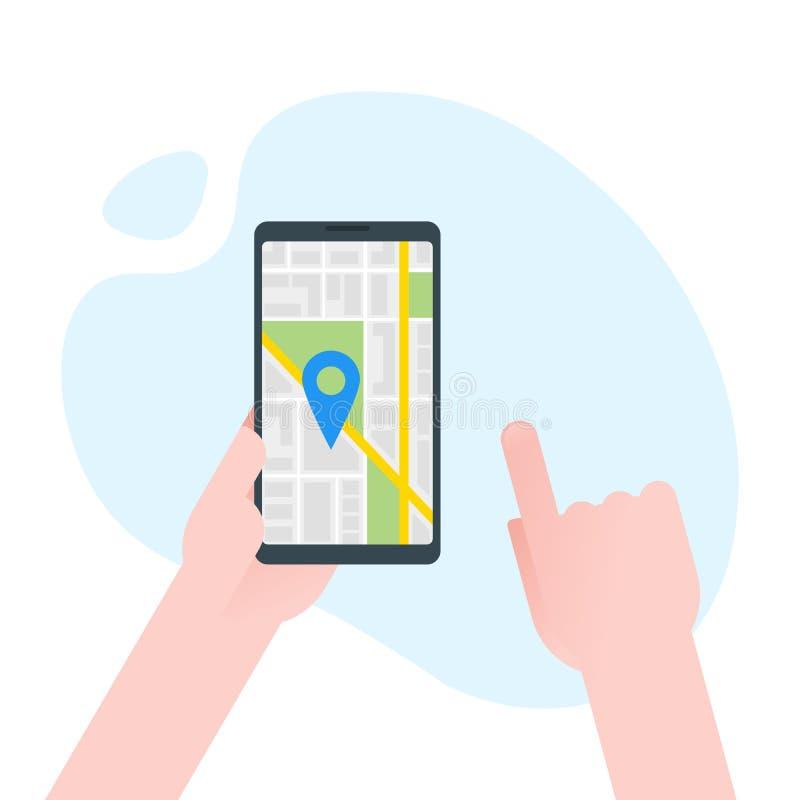Handhållsmartphone med navigatören för stadsöversiktsgps på smartphoneskärmen Mobilt navigeringbegrepp Modern enkel plan design f stock illustrationer