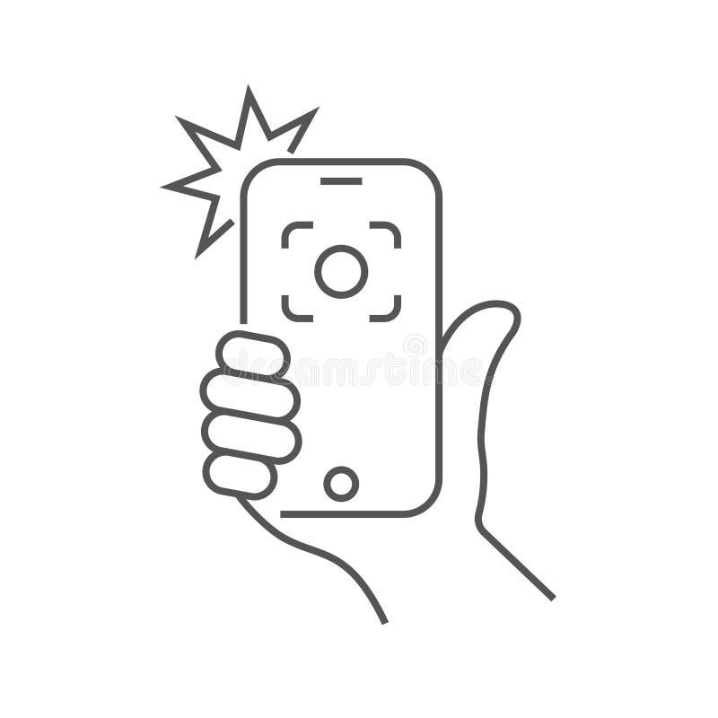 Handh?llen smartphonen och fotograferat med en exponering Foto p? smartphonen Redigerbar slagl?ngd 10 eps royaltyfri illustrationer