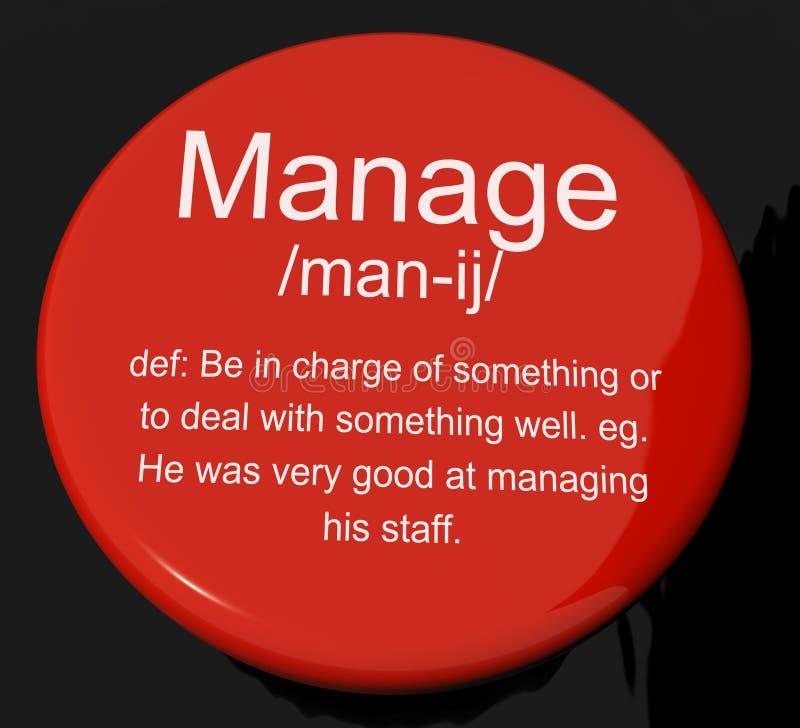 Handhaben Sie den Definitions-Knopf, der Führungs-Management und Super zeigt lizenzfreie abbildung