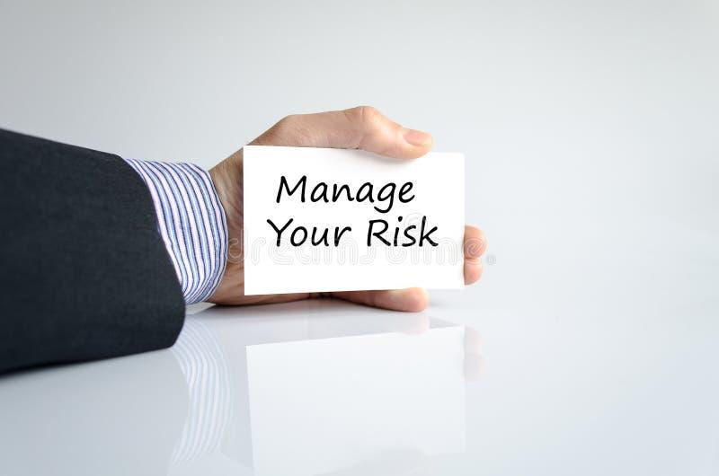 Handhaben Sie Ihr Risikotextkonzept lizenzfreies stockbild