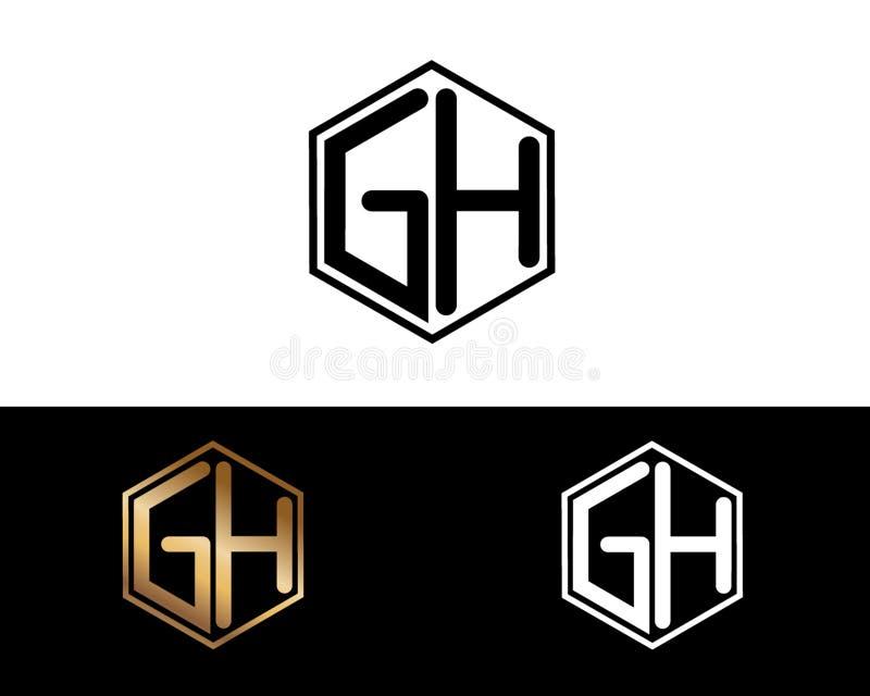 Handhabung- am Bodenbuchstaben verbunden mit Hexagonformlogo stock abbildung