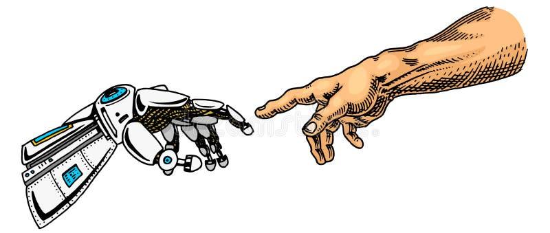 Handhandlag Android och mänskligt Baner för konstgjord intelligens Bionisk armaffisch framtida teknologi Inristad tappning royaltyfri illustrationer
