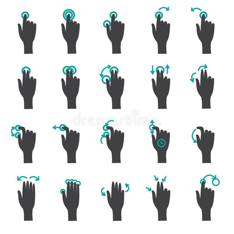Handhandlaggester sänker symbolsuppsättningen fotografering för bildbyråer