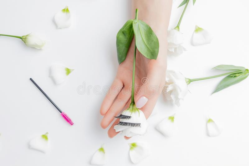 Handhandschuhe für Mädchen Wimperntuschenverlängerung auf weißem Blütenhintergrund mit rosa Pinsel, obere Ansicht Schönheitskonze stockfoto