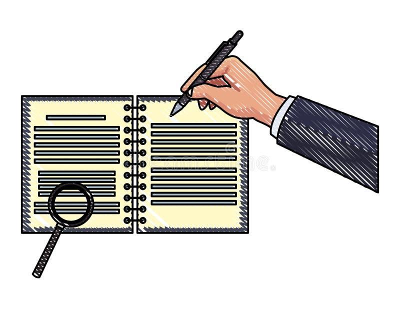Handhandstil på anteckningsboken med förstoringsglaset klottrar vektor illustrationer