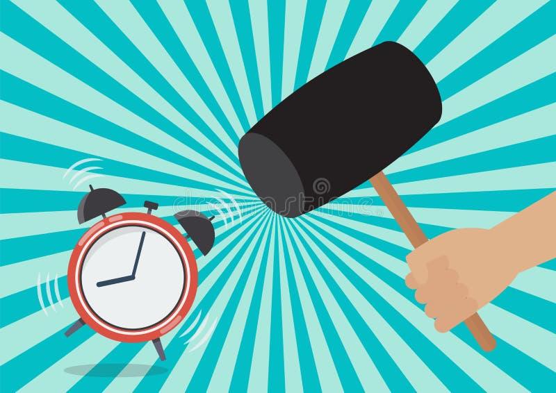 Handhandvat een hamer om de wekker te vernietigen vector illustratie