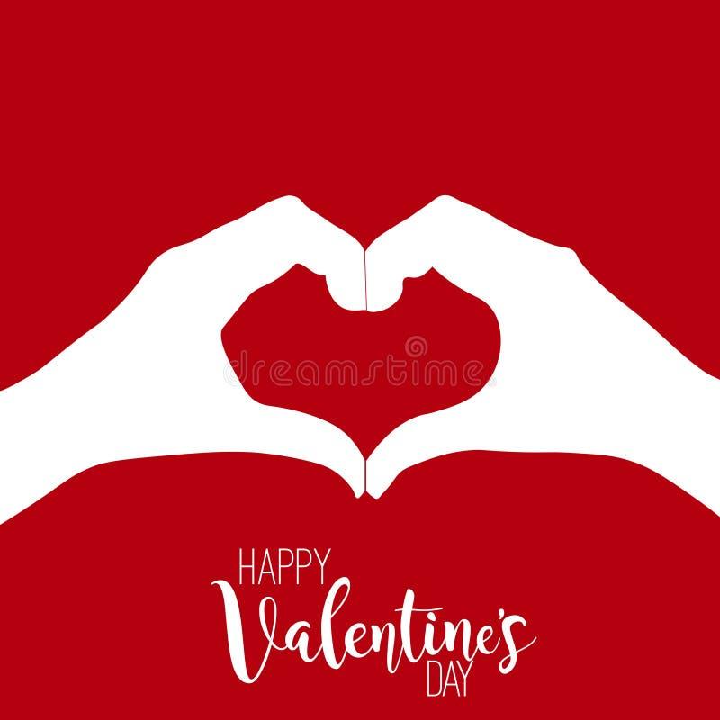 Handhart op rode achtergrond voor de dag van Valentine Vector royalty-vrije illustratie