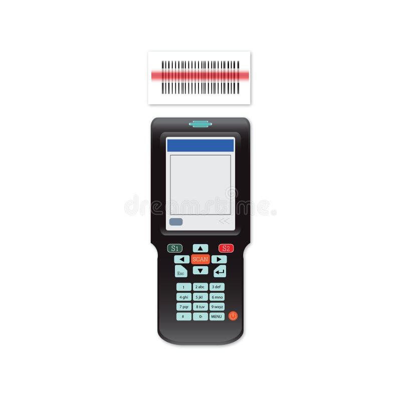 Handheld мобильный компьютер в штрихкоде руки или блока развертки иллюстрация штока