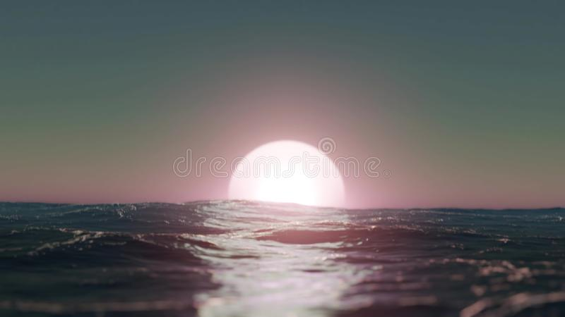 Handheld Camera Sunset over the Sea - 3D Illustration vector illustration