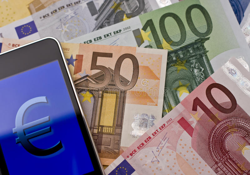 Handheld com euro- sinal - dois imagens de stock royalty free