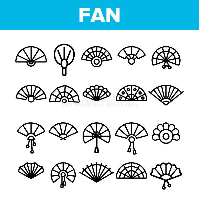 Handheld Elegant Fans Vector Linear Icons Set stock illustration