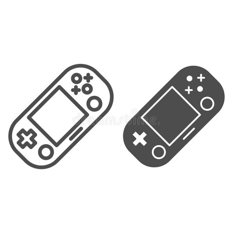 Handheld gemowa glif ikona i Przenośnego gemowego ochraniacza wektorowa ilustracja odizolowywająca na bielu Hazardu konturu styl royalty ilustracja