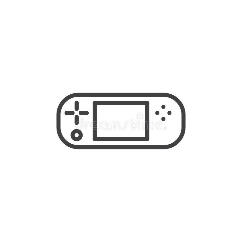 Handheld gemowa konsoli linii ikona ilustracja wektor