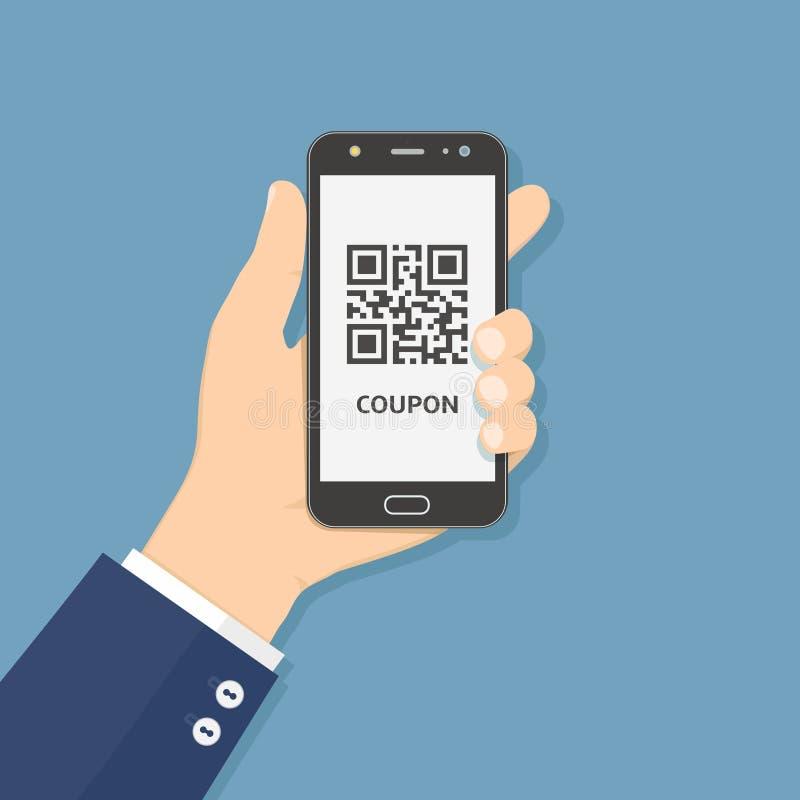 Handheld-Smartphone mit Kupon-QR-Code auf dem Bildschirm, Flachbild-Illustration vektor abbildung