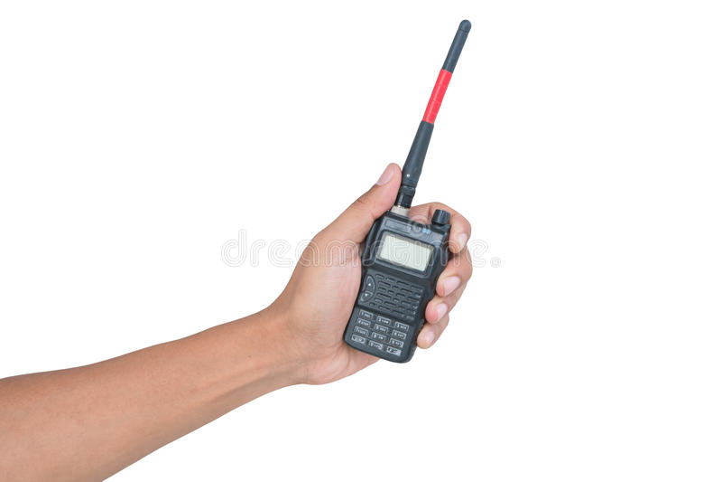 Handheld walkietalkie som isoleras på vit bakgrund med clippi arkivfoton