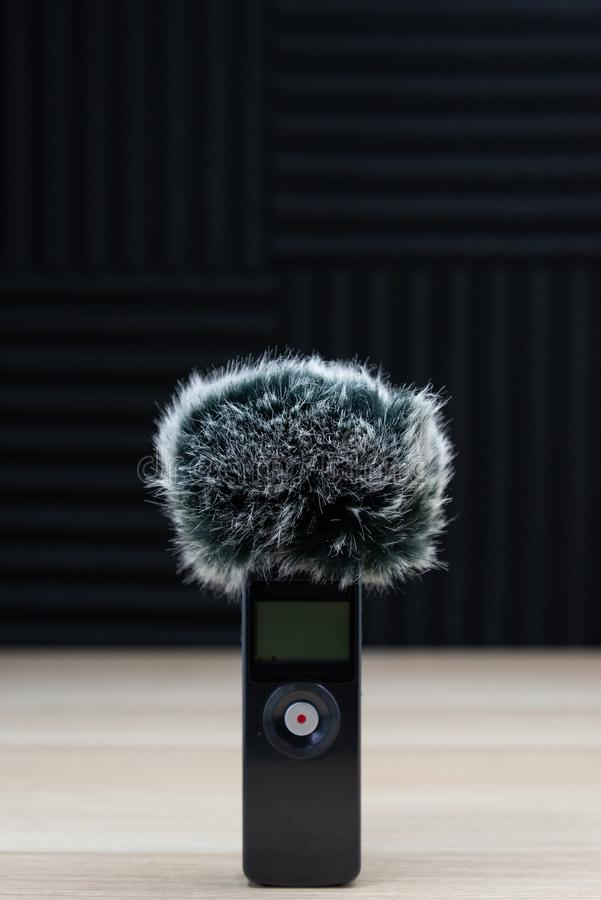 Handheld zoom microphone audio recorder wind screen royalty free stock images
