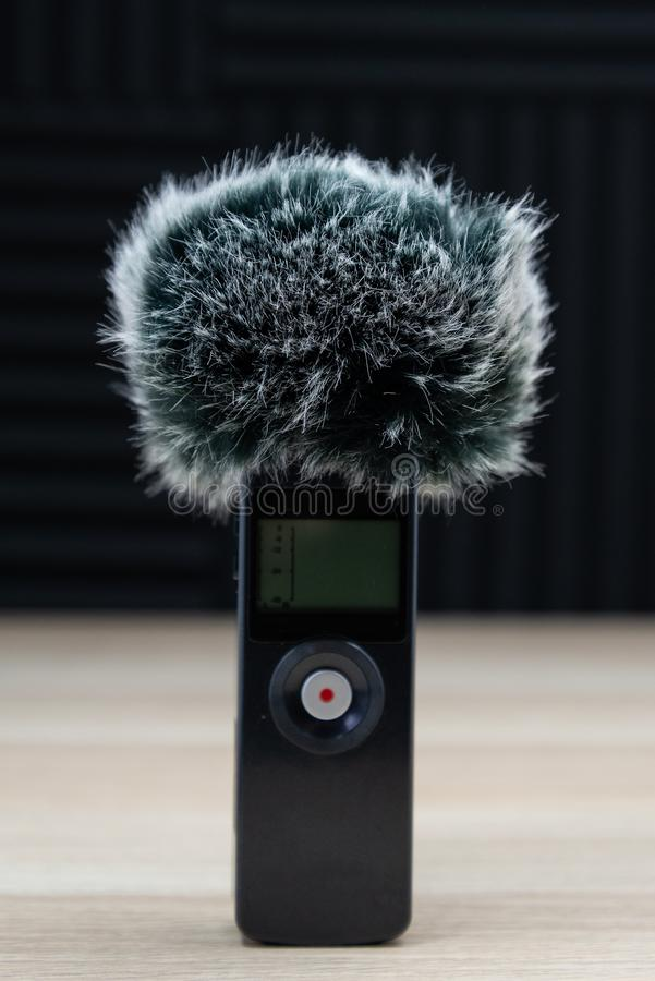 Handheld zoomu mikrofonu pisaka wiatru audio ekran obraz royalty free