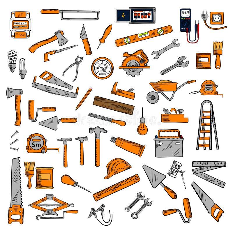 Handhjälpmedel och utrustningar skissar symboler royaltyfri illustrationer