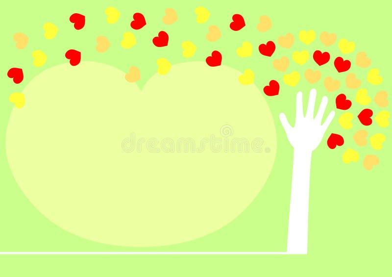 handhjärtaleaves som fördelar treen royaltyfri illustrationer