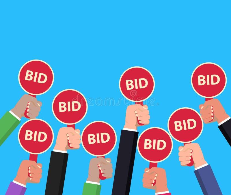 Handholding-Auktionspaddel Bieten des Konzeptes Auktionswettbewerb Vektor vektor abbildung