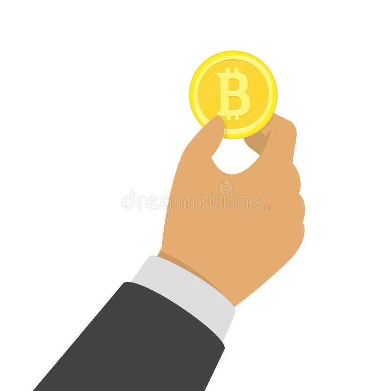 Handholding bitcoin stock illustratie