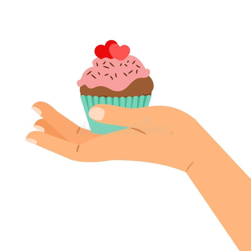 Handholding cupcake met twee harten stock illustratie