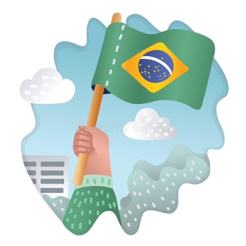 Handholding, die de nationale vlag van Brazilië opheffen royalty-vrije illustratie
