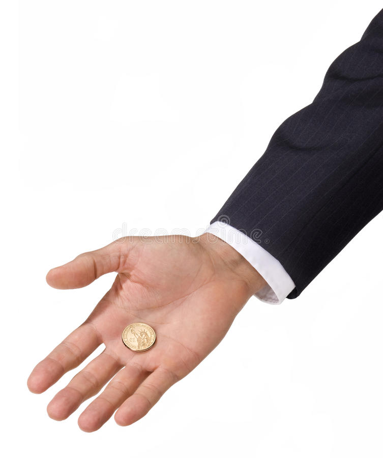 Handholding-Dollar-Münze Lizenzfreie Stockfotografie