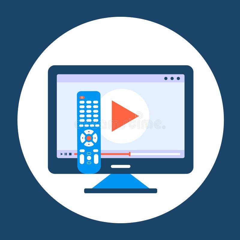 Handholding Fernsteuerungs Fernsehikonenkonzept Spielikone im Fernsehen Intelligentes Fernsehkonzept Flacher Vektor vektor abbildung