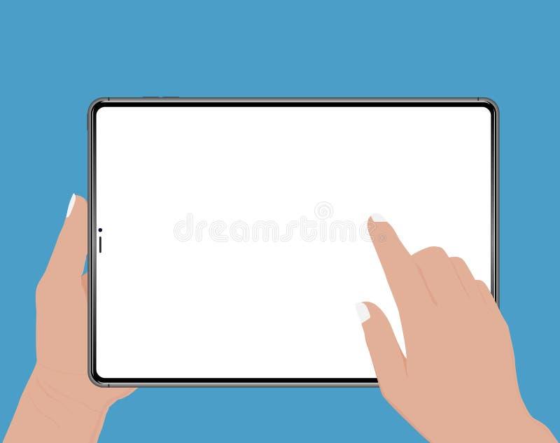 Handholding hand wat betreft het lege scherm van tablet Geïsoleerde vector vlakke pictogramillustratie stock illustratie