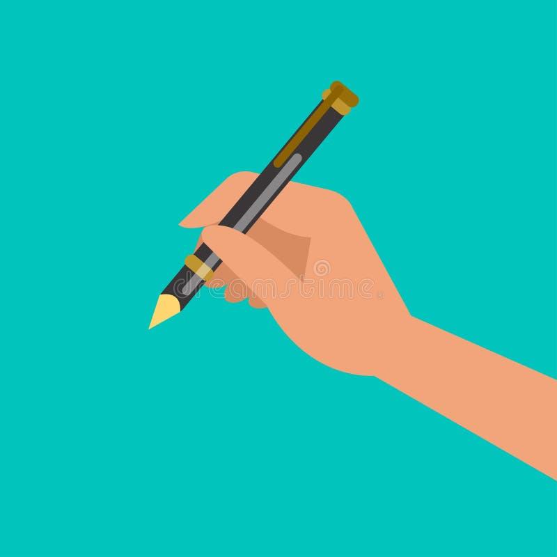 Handholding pen en het schrijven royalty-vrije illustratie