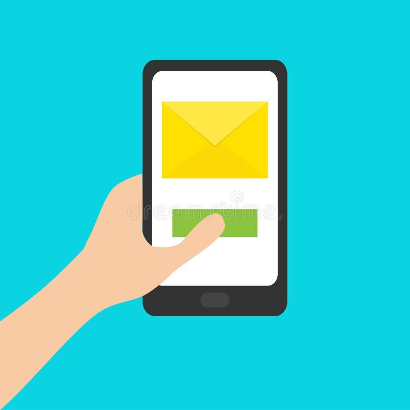 Handholding smartphone Genering-Tablettengerät tabulator Geöffnet schlagen Sie ein Papierumschlagbuchstabe Grüne Taste Neues Mitt stock abbildung