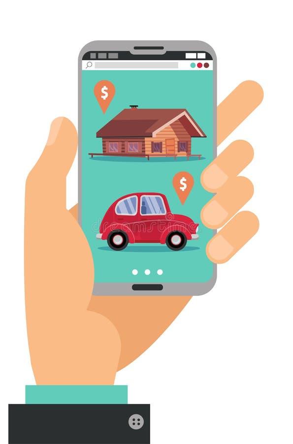 Handholding smartphone Konzept der Hand mit Handy mit Grundstück, Autoverkaufs-Marktanwendung, die Haus kennzeichnet und lizenzfreie abbildung
