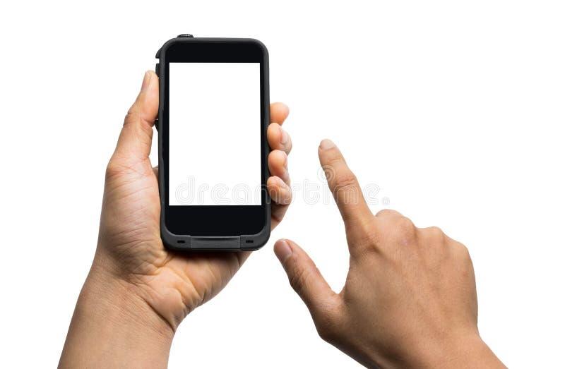 Handholding Smartphone met het lege scherm dat op wit wordt geïsoleerd stock afbeeldingen