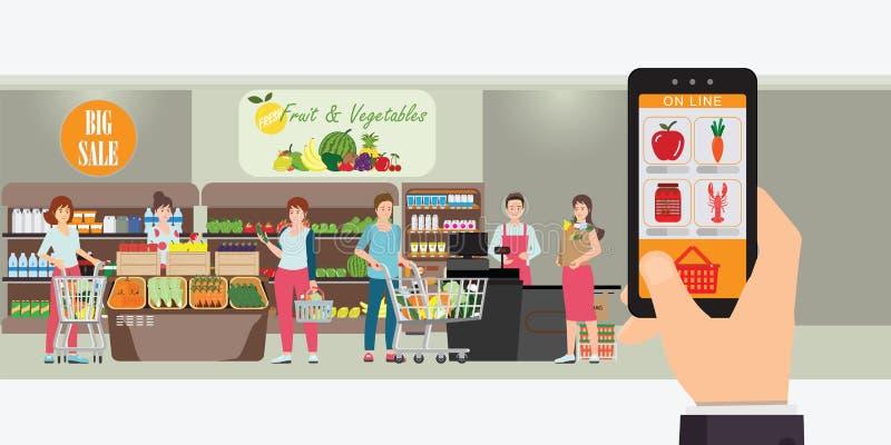 Handholding Smartphone mit Einkaufsapp, Innenspeicherinnere, Lebensmittelgeschäftlieferungsinternet-Auftrag, on-line-Supermarktko lizenzfreie abbildung