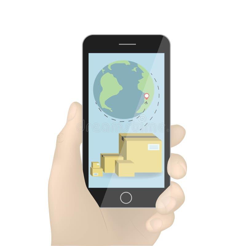 Handholding Smartphonevektor, schwarze Illustration des Handys in der Hand lokalisiert auf weißem Hintergrund Kasten und globale lizenzfreie abbildung