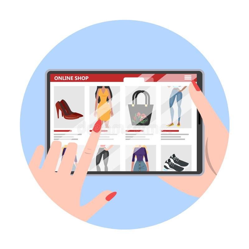 Handholdingtablet-computer und suchen Waren lizenzfreie abbildung