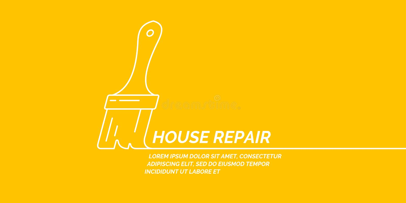 Handhulpmiddelen voor huisvernieuwing en bouw De lineaire affiche van de Huisreparatie royalty-vrije illustratie