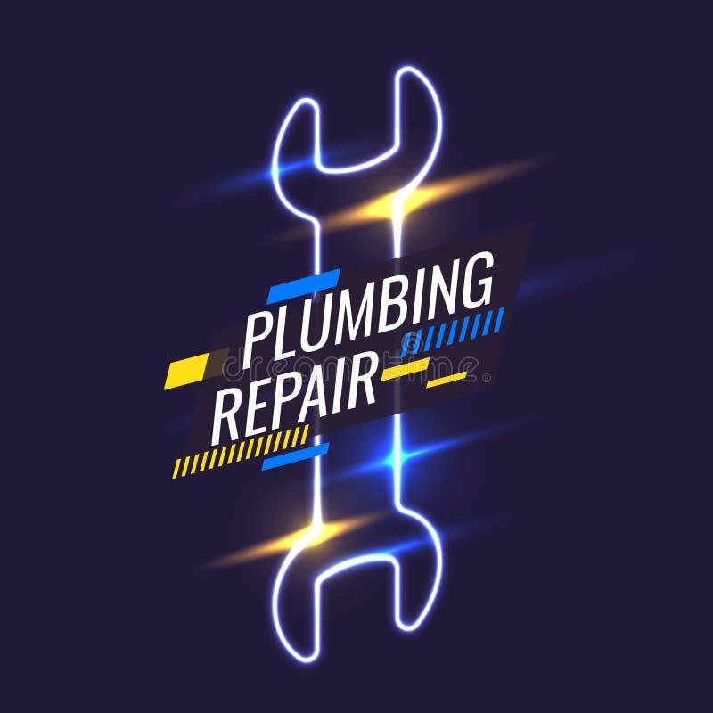 Handhulpmiddelen voor huisvernieuwing en bouw De modieuze affiche van de Loodgieterswerkreparatie Vector illustratie royalty-vrije illustratie