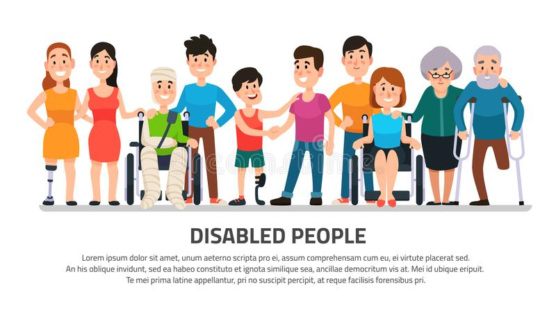 Handicapé d'aide Personnes heureuses d'incapacité, jeune étudiante dans le fauteuil roulant, garçon handicapé avec le groupe du v illustration de vecteur
