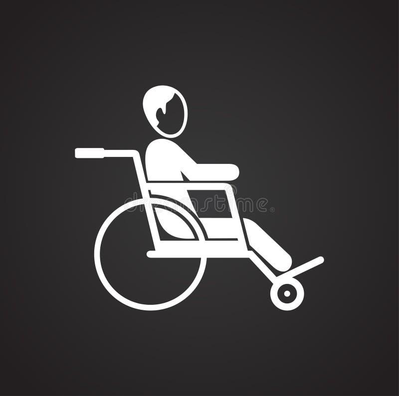 Handicapé sur le fauteuil roulant sur le fond noir illustration de vecteur